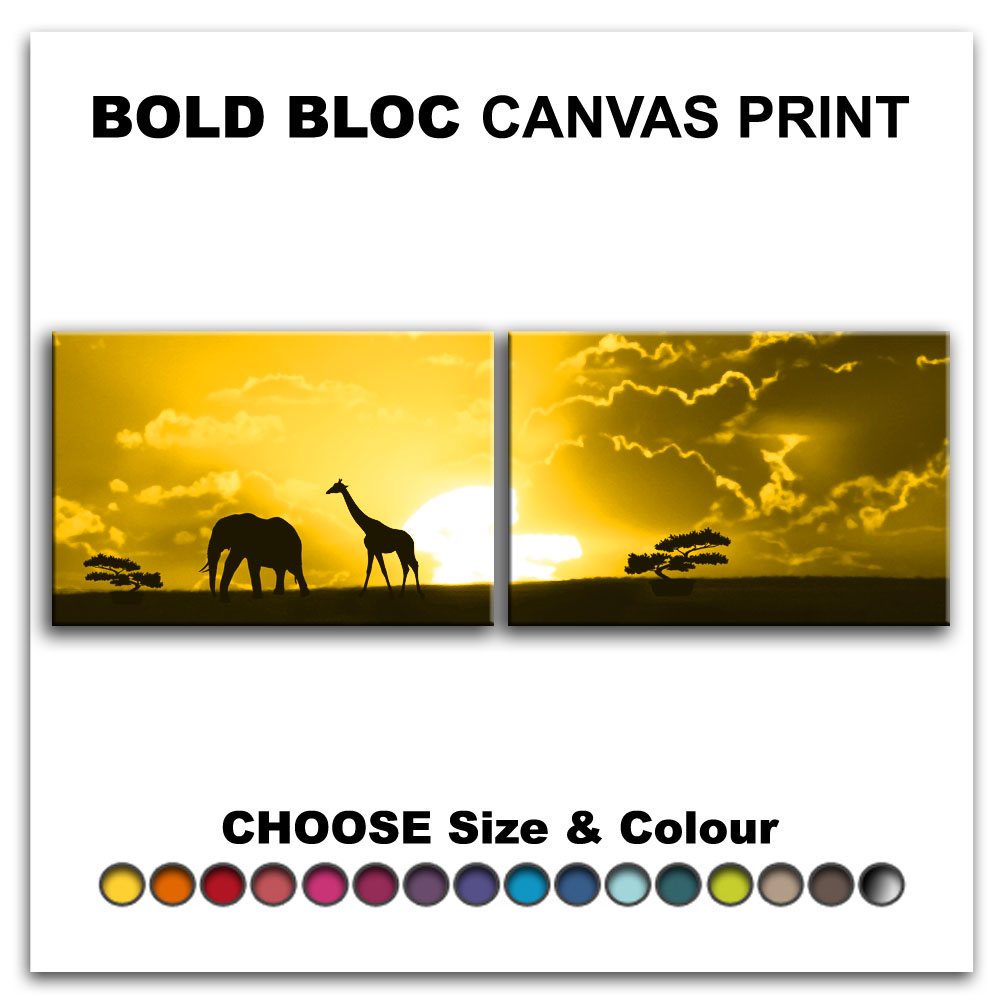 African Animals SUNSET Canvas Art Print Box Framed Picture Wall ...