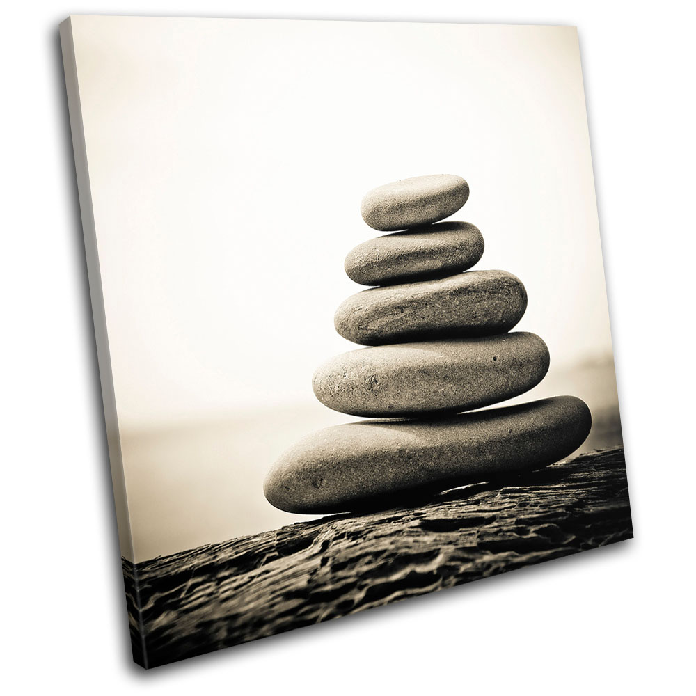 Pebbles tranquil bathroom single canvas wall art picture for Bathroom wall decor uk