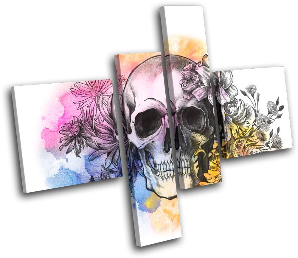 Wall Art Multi Canvas : Tattoo skull grunge floral graffiti cm multi canvas