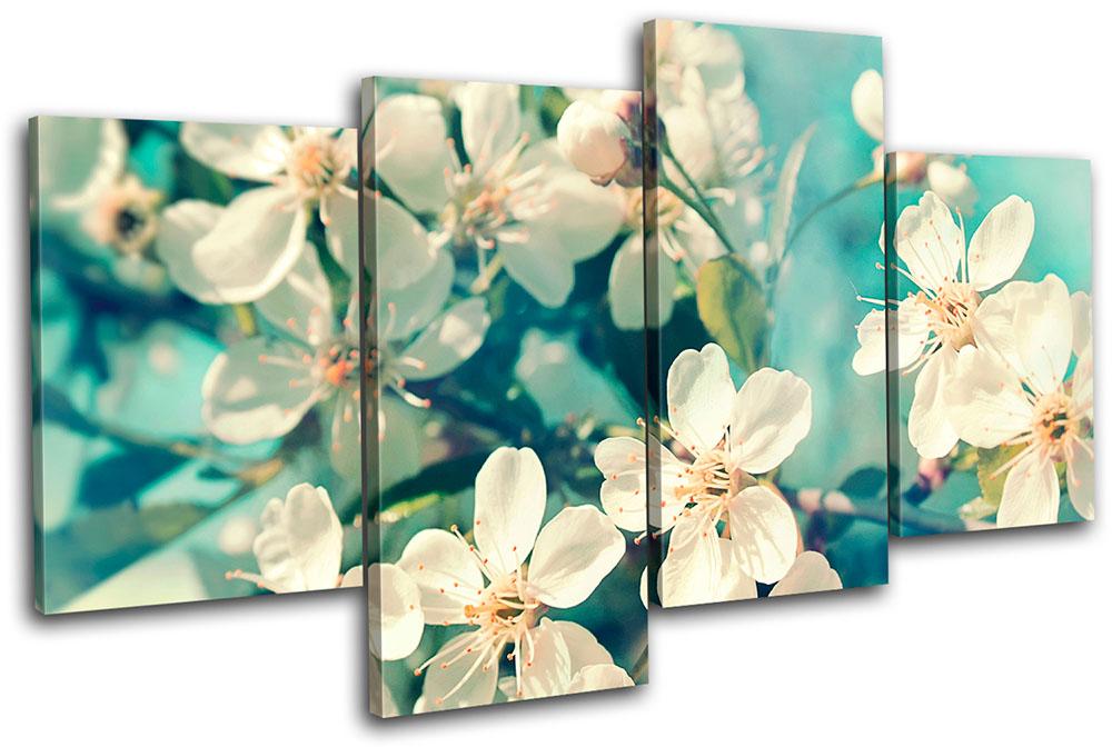 Vintage Teal Wall Decor : Vintage flowers teal large canvas art print box framed