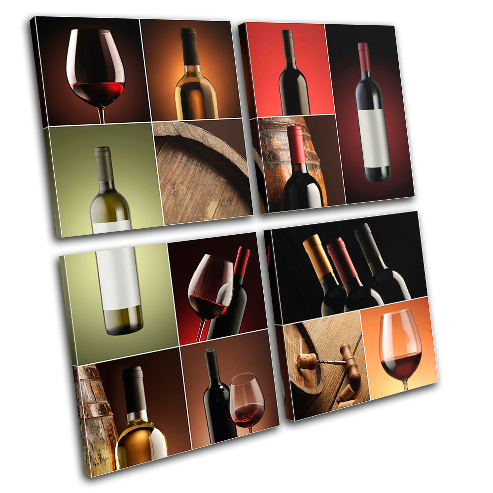 Wine Wall Art wine collage drink food kitchen multi canvas wall art picture