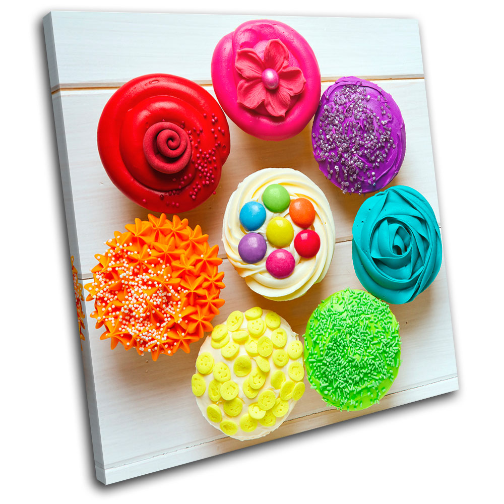 Cupcakes colour food kitchen single canvas wall art for Cupcake wall art