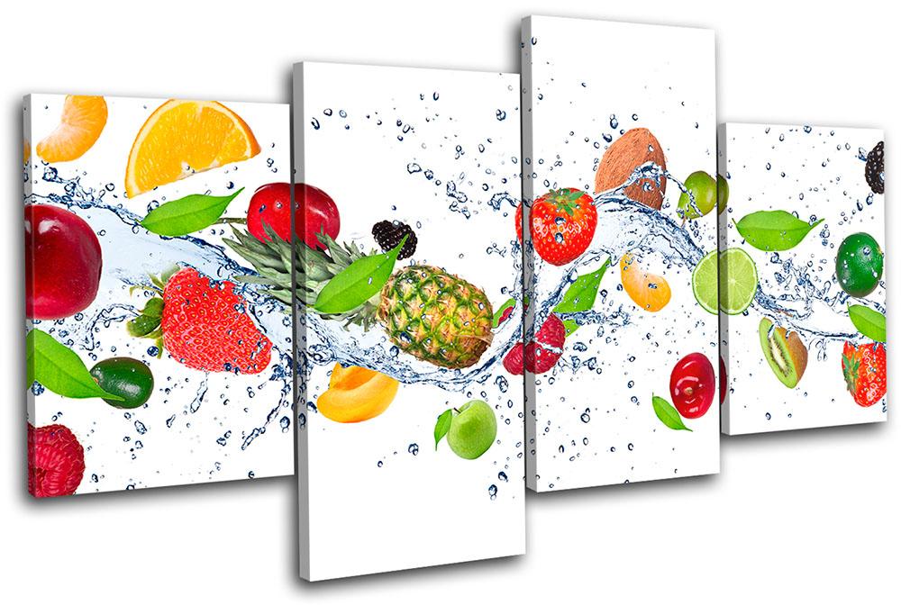 Fresh Fruits Splash Food Kitchen Multi Canvas Wall Art