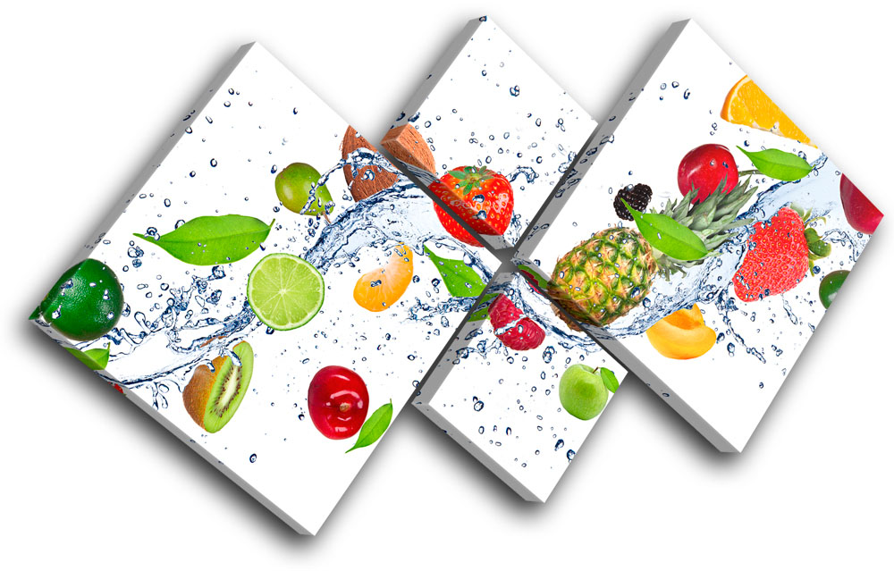 Kitchen Canvas Wall Art fresh fruits splash food kitchen multi canvas wall art picture