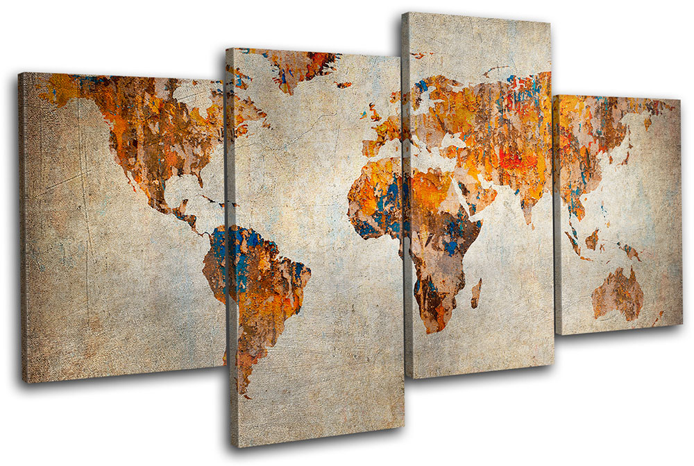World Map Multi Panel Canvas Wall Art designed with % premium canvas that comes with utmost durability, Ready To Hang; no additional hanging hardware required.