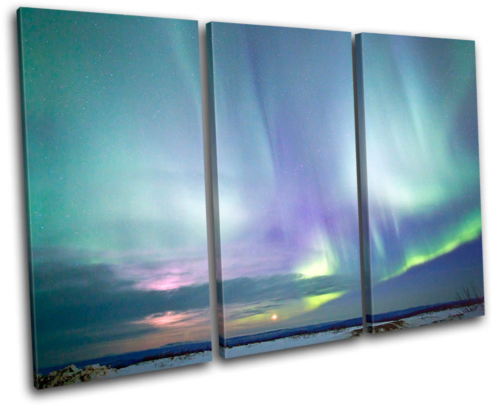 Northern Lights Alaska Space Treble Canvas Wall Art