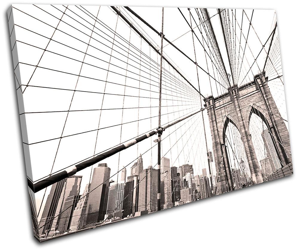 brooklyn bridge nyc city single leinwand wand kunst bild drucken ebay. Black Bedroom Furniture Sets. Home Design Ideas