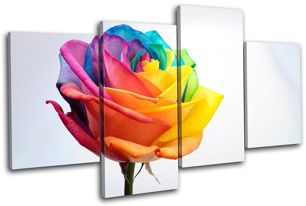 Rainbow rose floral multi canvas wall art picture print va for Multi canvas art diy