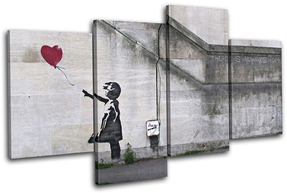 Wall Art Multi Canvas : Balloon girl banksy street multi canvas wall art picture