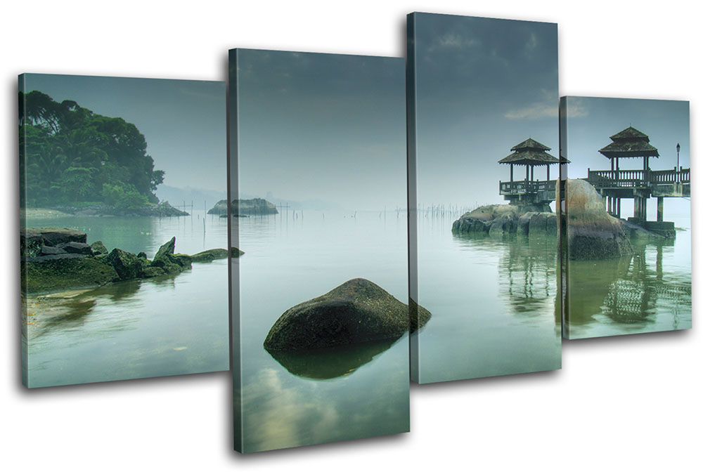 Wall Art Multi Canvas : Japanese sunset seascape multi canvas wall art picture