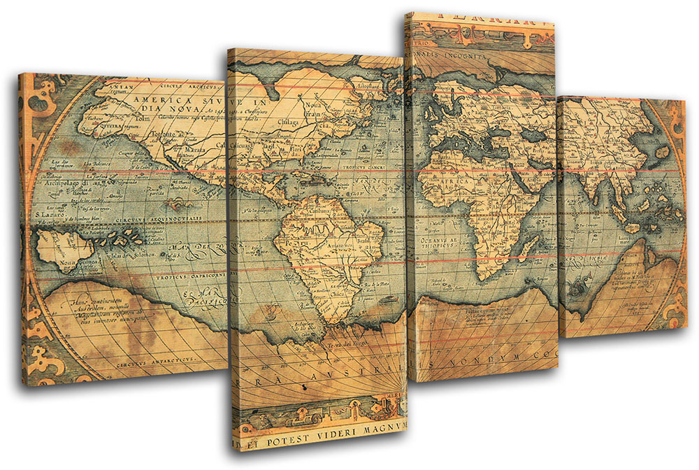 Old World Atlas Maps Flags MULTI CANVAS WALL ART Picture Print VA eBay