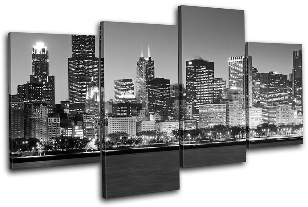 Cityscape Wall Art chicago cityscape city multi canvas wall art picture print va | ebay