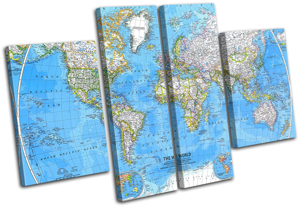 World Atlas 1981 Maps Flags MULTI CANVAS WALL ART Picture
