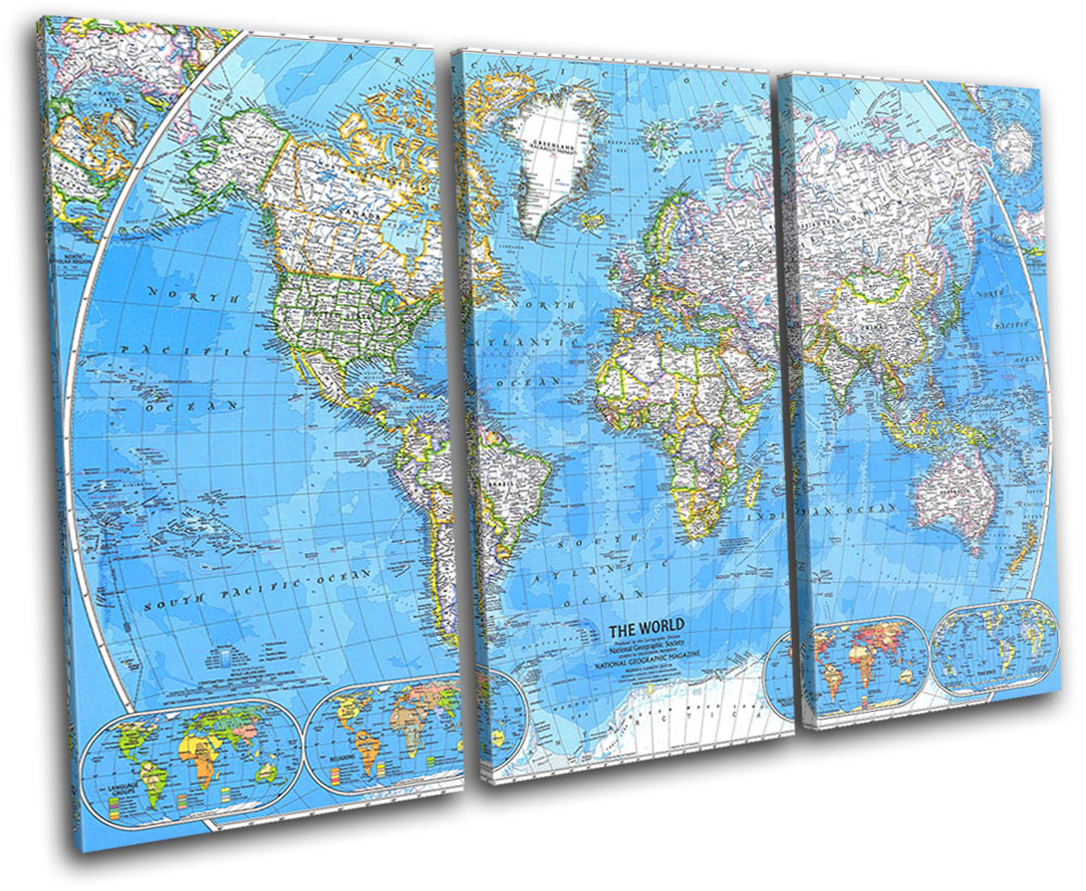 World Atlas 1981 Maps Flags TREBLE CANVAS WALL ART Picture