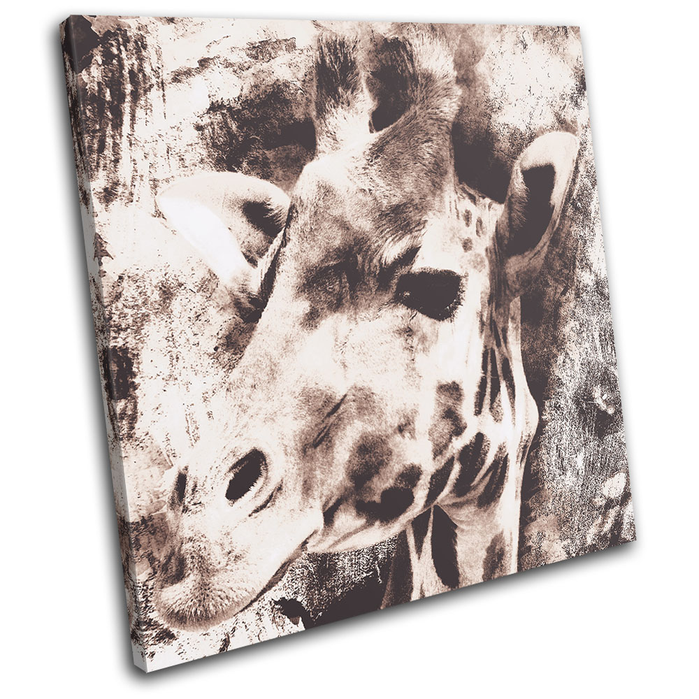 Wall Art Canvas Shabby Chic : Giraffe vintage shabby chic animals single canvas wall art