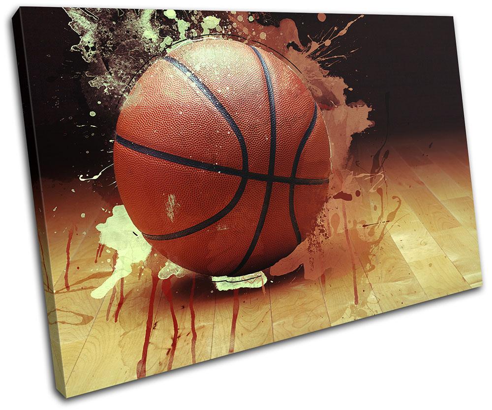 Flaming Basketball Abstract Sports SINGLE TELA TELA TELA parete arte foto stampa 66eb30